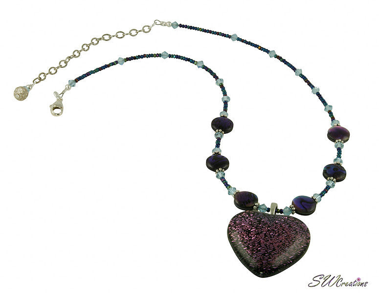 Purple Heart Extravagance Beaded Necklace - SWCreations