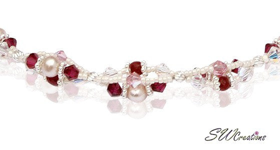 Handmade Ruby Gemstone Pearl Twist Necklace - SWCreations  - 2