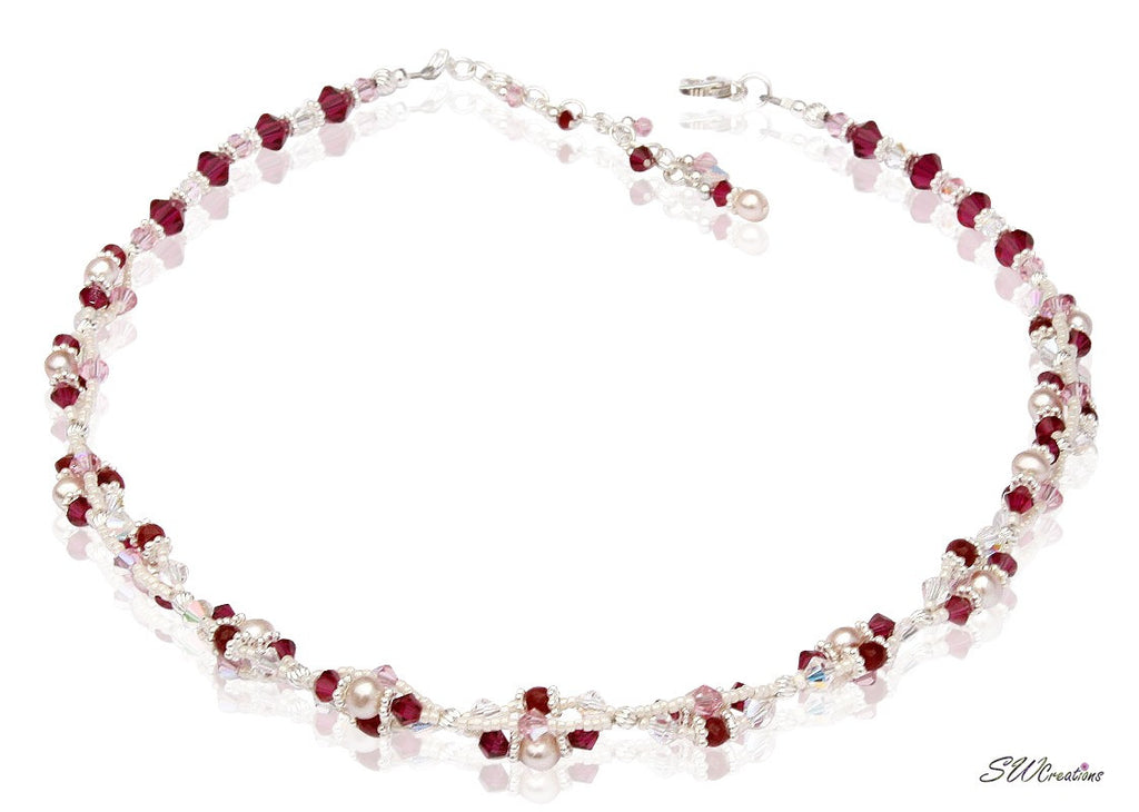Handmade Ruby Gemstone Pearl Twist Necklace - SWCreations