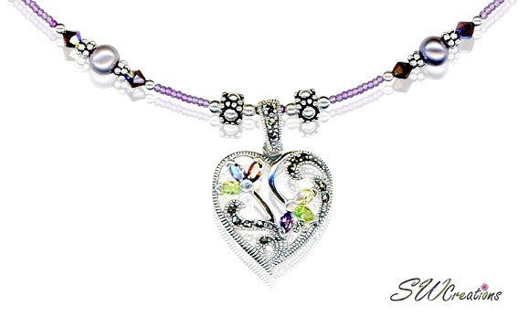 Handmade Siam Purple Marcasite Heart Necklace - SWCreations  - 1