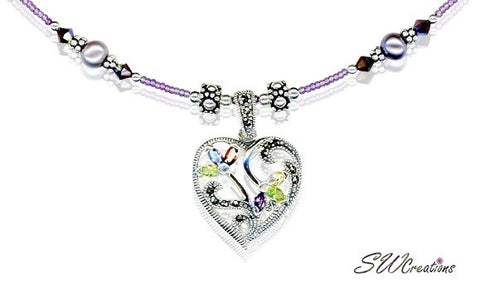 Handmade Siam Purple Marcasite Heart Necklace - SWCreations