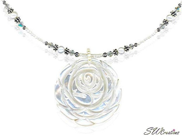 Crystal Pearl Shell Flower Necklace - SWCreations