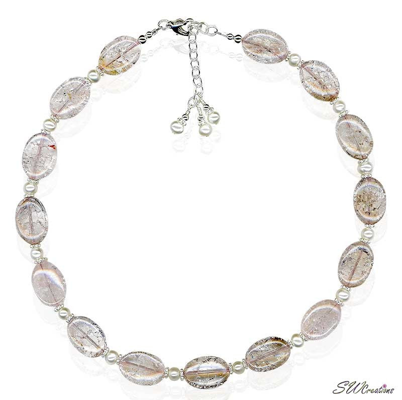 Rose Quartz Gemstone Pearl Necklace - SWCreations