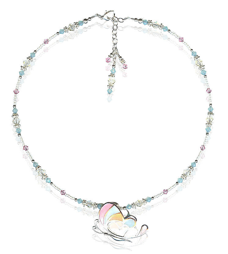 Pastel  Butterfly Crystal Beaded Necklace - SWCreations