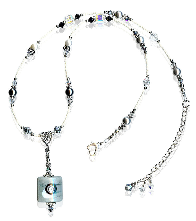 Shades of Grey Crystal Lampwork Glass Necklace - SWCreations