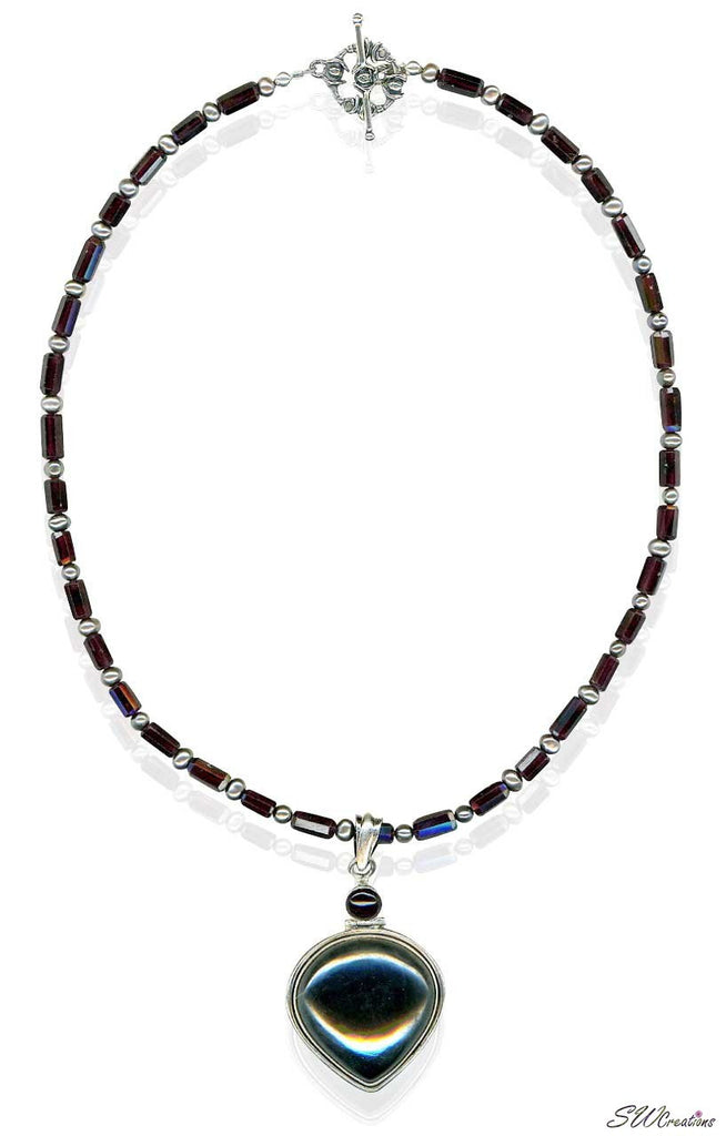 Garnet Gemstone Pearl Beaded Necklace - SWCreations