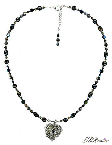 Black Onyx Heart Gemstone Beaded Necklace - SWCreations