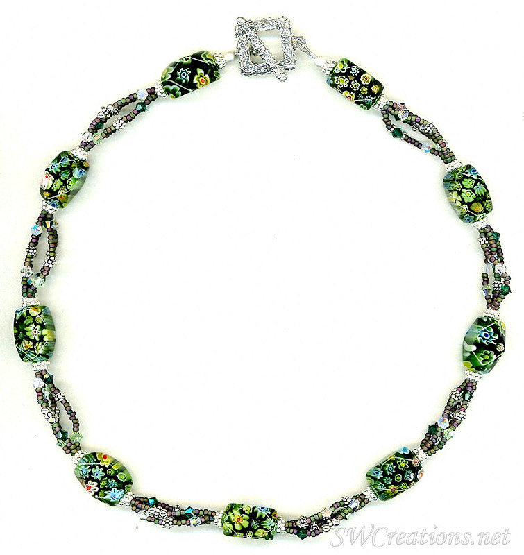 Fancy Emerald Floral Crystal Necklace - SWCreations