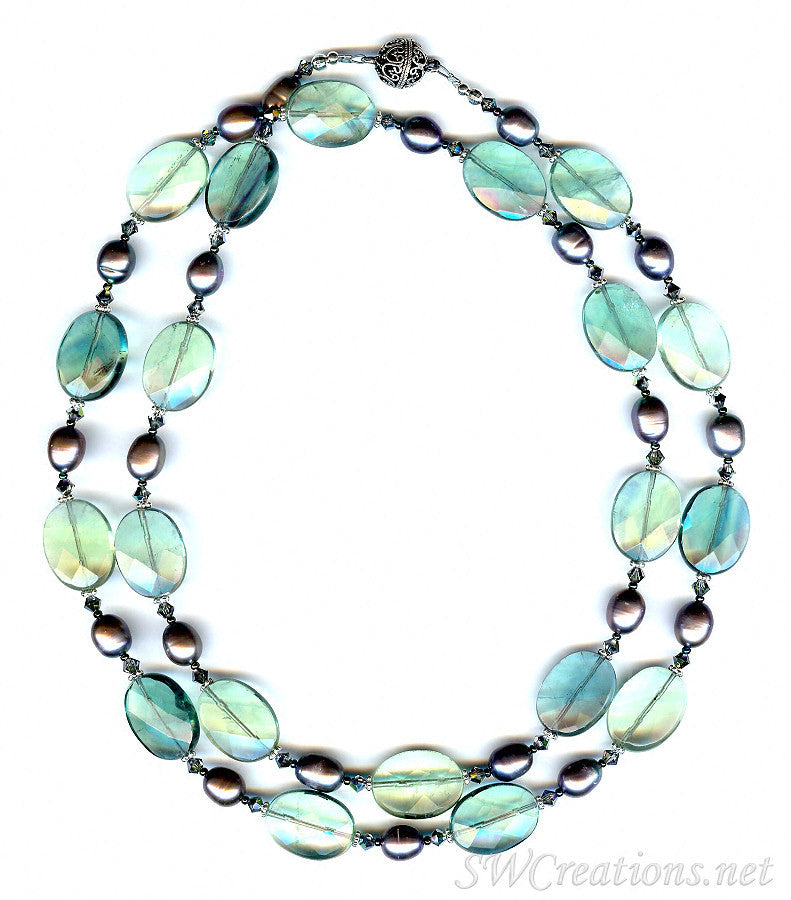 Green Fluorite Pearl Crystal Gemstone Necklace - SWCreations