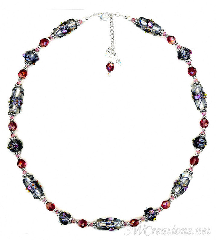 Rose Lampwork Crystal Beaded Necklace - SWCreations