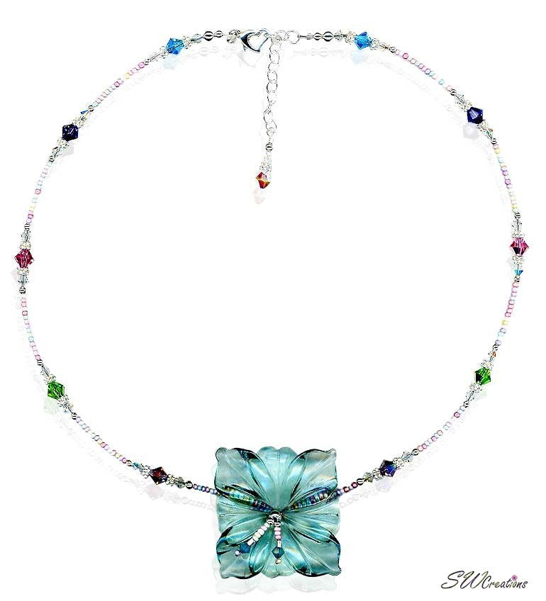 Sea Foam Crystal Hibiscus Flower Necklace - SWCreations