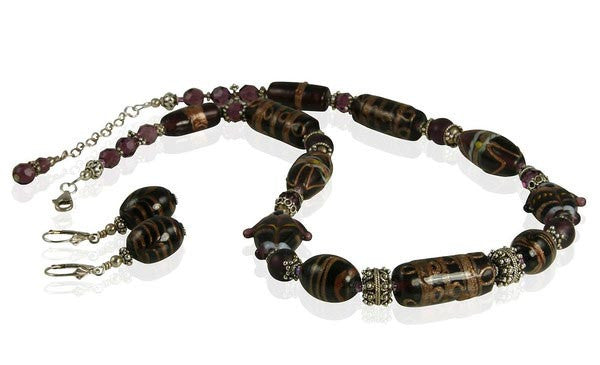 Amethyst Lampwork Beaded Necklace Set - SWCreations