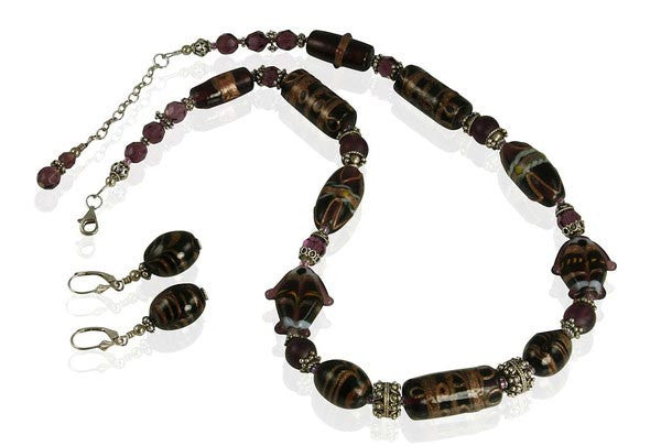 Amethyst Lampwork Beaded Necklace Set - SWCreations  - 2