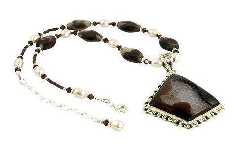 Burgundy Druzy Crystal Pearl Necklace Set - SWCreations
