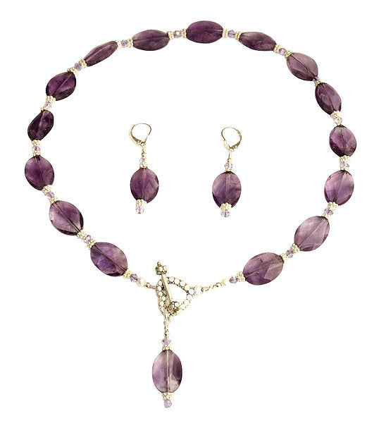 Amethyst Violet Gemstone Beaded Necklace Set - SWCreations  - 1