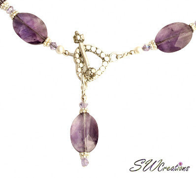 Amethyst Violet Gemstone Beaded Necklace Set - SWCreations