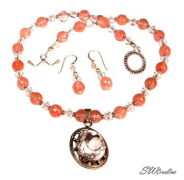 Cherry Crystal Gemstone Beaded Necklace Set - SWCreations  - 1