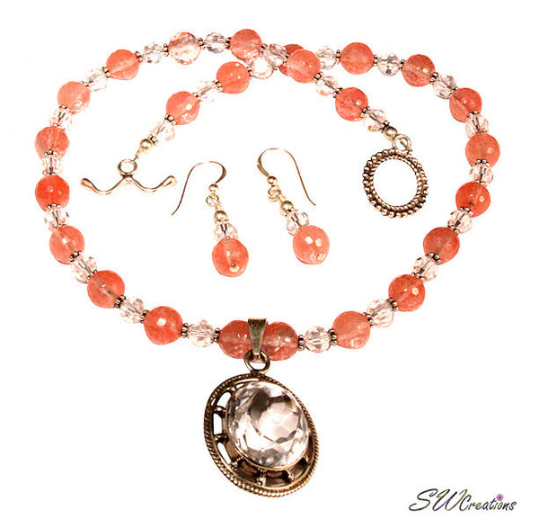 Cherry Crystal Gemstone Beaded Necklace Set - SWCreations
