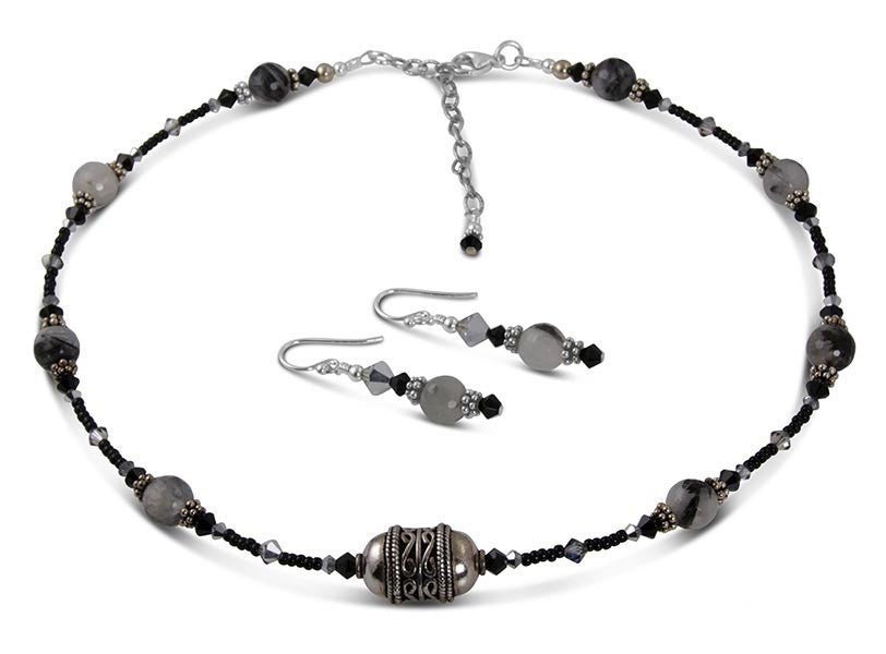 Jet Black Quartz Bead Necklace Set - SWCreations  - 2