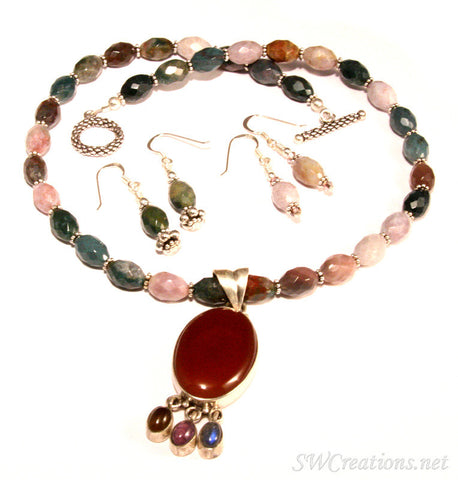 Fancy Jasper Gemstone Silver Necklace Set - SWCreations
