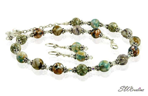 Earth-tone Mother of Pearl Crystal Necklace Set - SWCreations