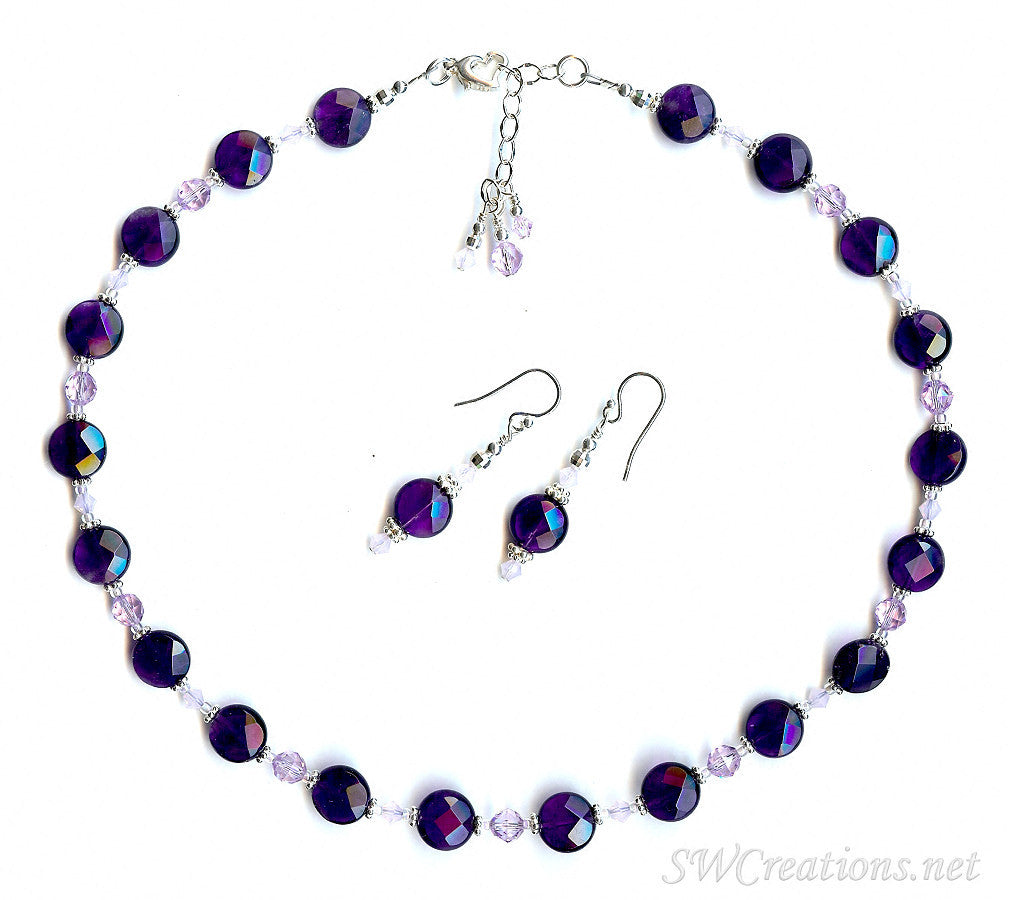 Violetta Amethyst Crystal Violet Opal Necklace Set - SWCreations