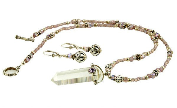 Amethyst Crystalline Quartz Beaded Necklace Set - SWCreations