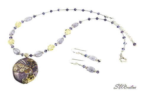 CZ Tanzanite Floral Crystal Necklace Set - SWCreations