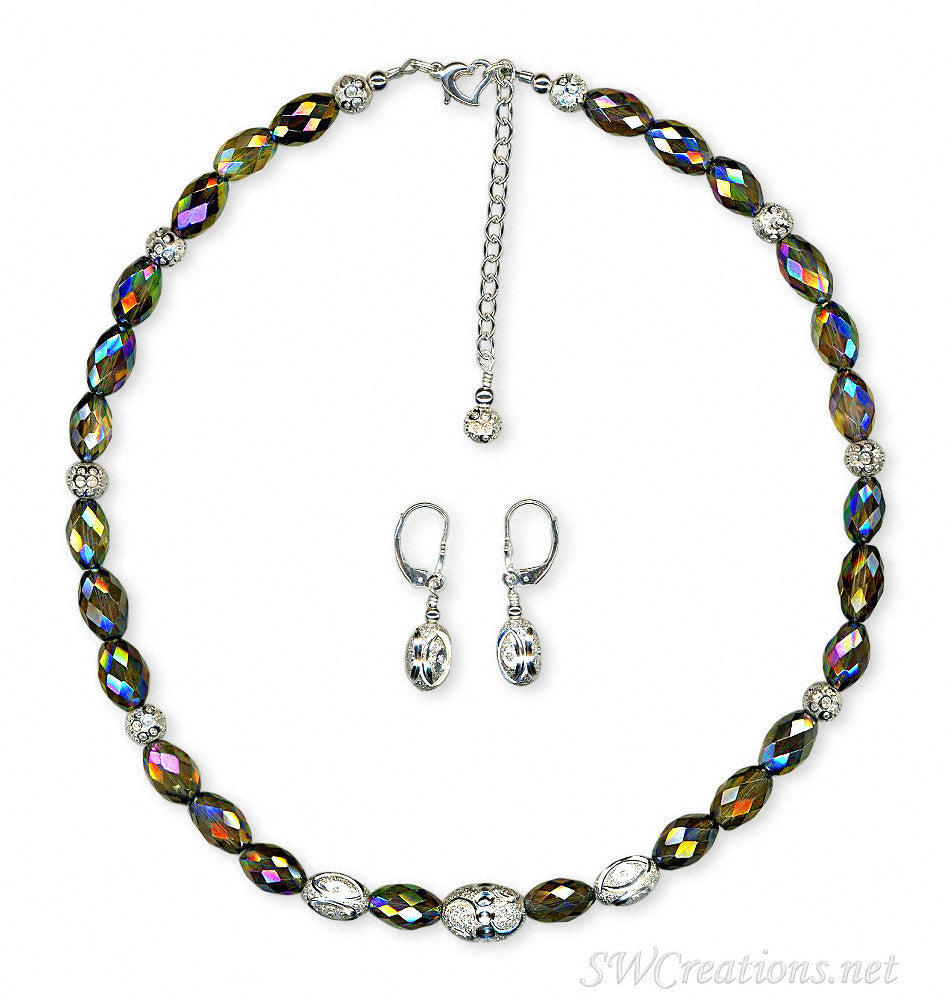 Rutilated Quartz Fancy Diamond Silver Necklace Set - SWCreations