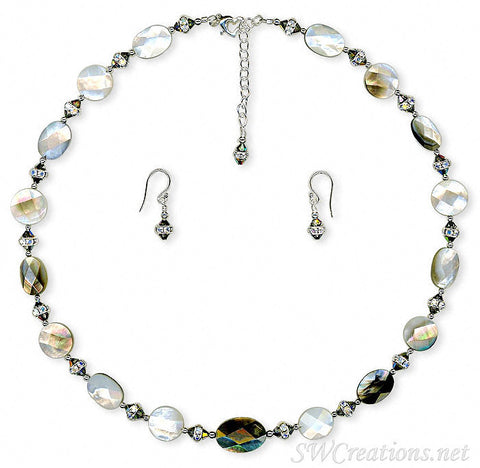 Shell Vitrail Crystal Rondelle Silver Necklace Set - SWCreations