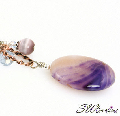 Lavender Swirl Gemstone Crystal Beaded Purse Charm - SWCreations  - 2