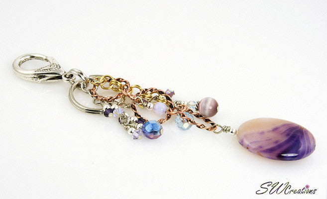 Lavender Swirl Gemstone Crystal Beaded Purse Charm - SWCreations  - 1