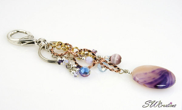 Lavender Swirl Gemstone Crystal Beaded Purse Charm - SWCreations