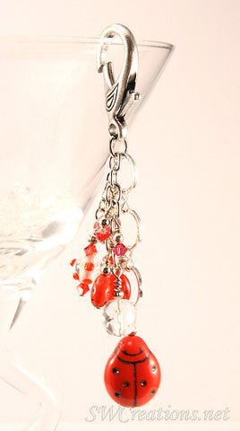 Red Ladybug Crystal Beaded Purse Charm - SWCreations