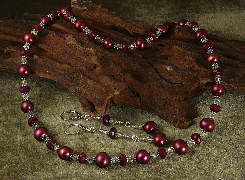 Ruby Moonstone Gemstone Pearl Set