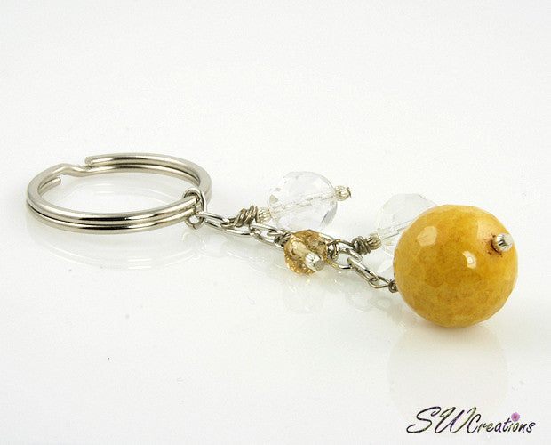 Goldenrod Yellow Crystal Beaded Keychain - SWCreations
