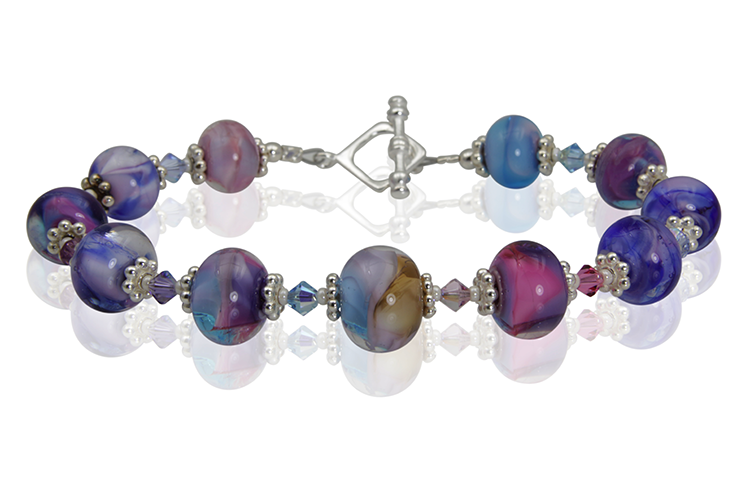 Multicolor Purple Lampwork Bead Bracelet - SWCreations