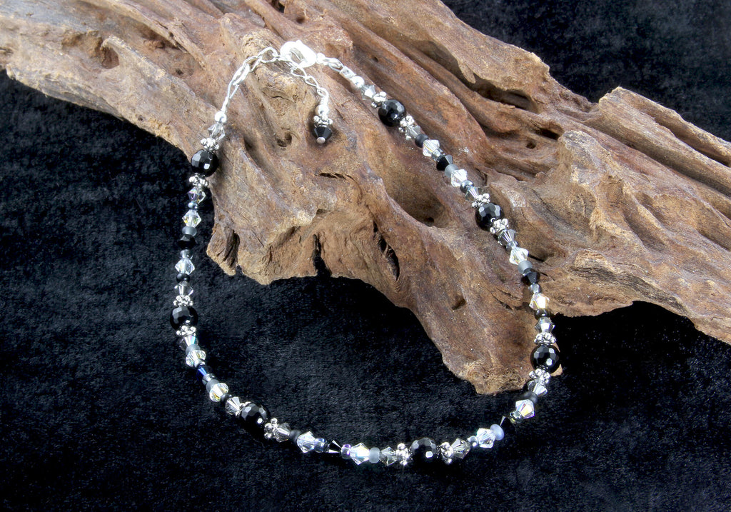 Black Onyx Gemstone Silver-Plated Anklet