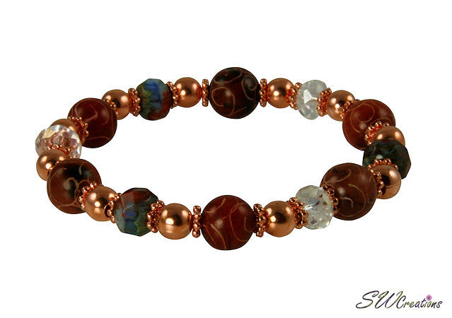 Carved Jade Copper Gemstone Beaded Bracelets - SWCreations