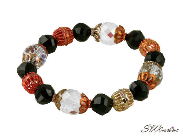 Jet and Crystal Copper Glass Beaded Bracelets - SWCreations
