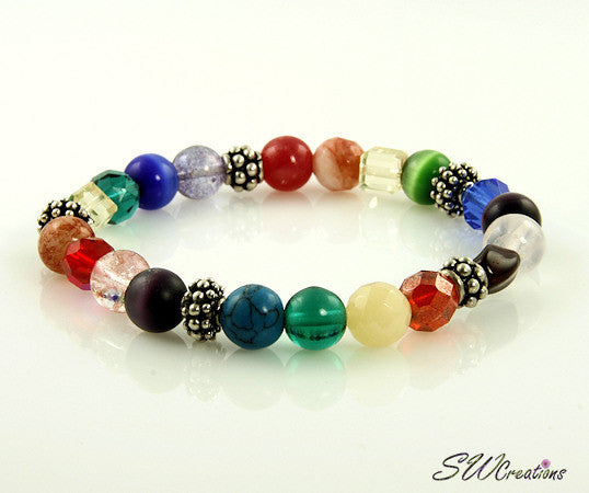Summer Rainbow Silver Stretch Beaded Bracelets - SWCreations
