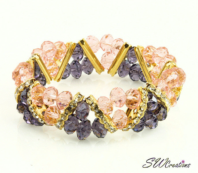 Tanzanite Peach Gold Crystal Double Strand Beaded Bracelets - SWCreations  - 2