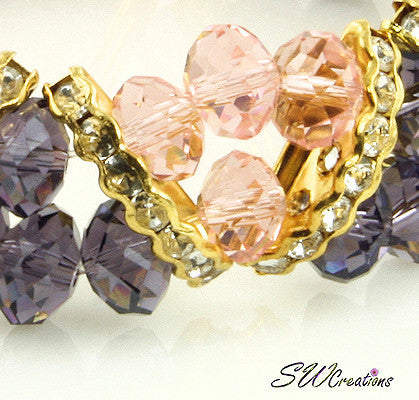 Tanzanite Peach Gold Crystal Double Strand Beaded Bracelets - SWCreations  - 3