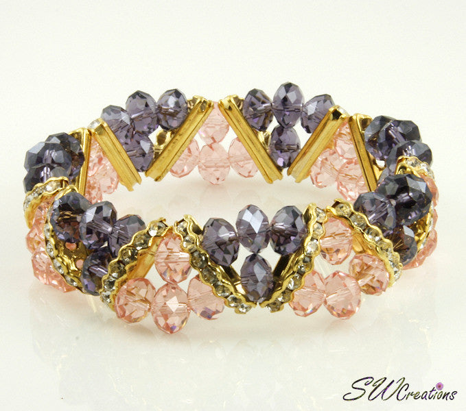 Tanzanite Peach Gold Crystal Double Strand Beaded Bracelets - SWCreations  - 1