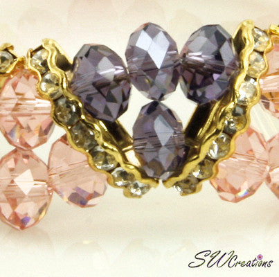 Tanzanite Peach Gold Crystal Double Strand Beaded Bracelets - SWCreations  - 4