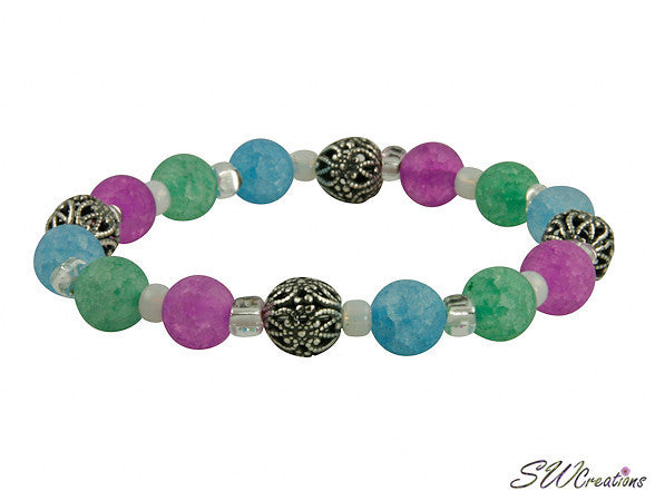 Ocean Crackle Quartz Stretch Beaded Bracelets - SWCreations  - 1