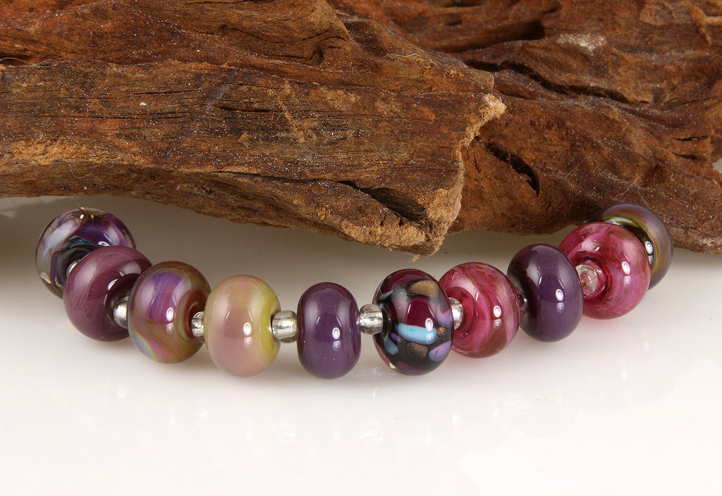 Majestic Purple Lampwork Glass Beads SRA