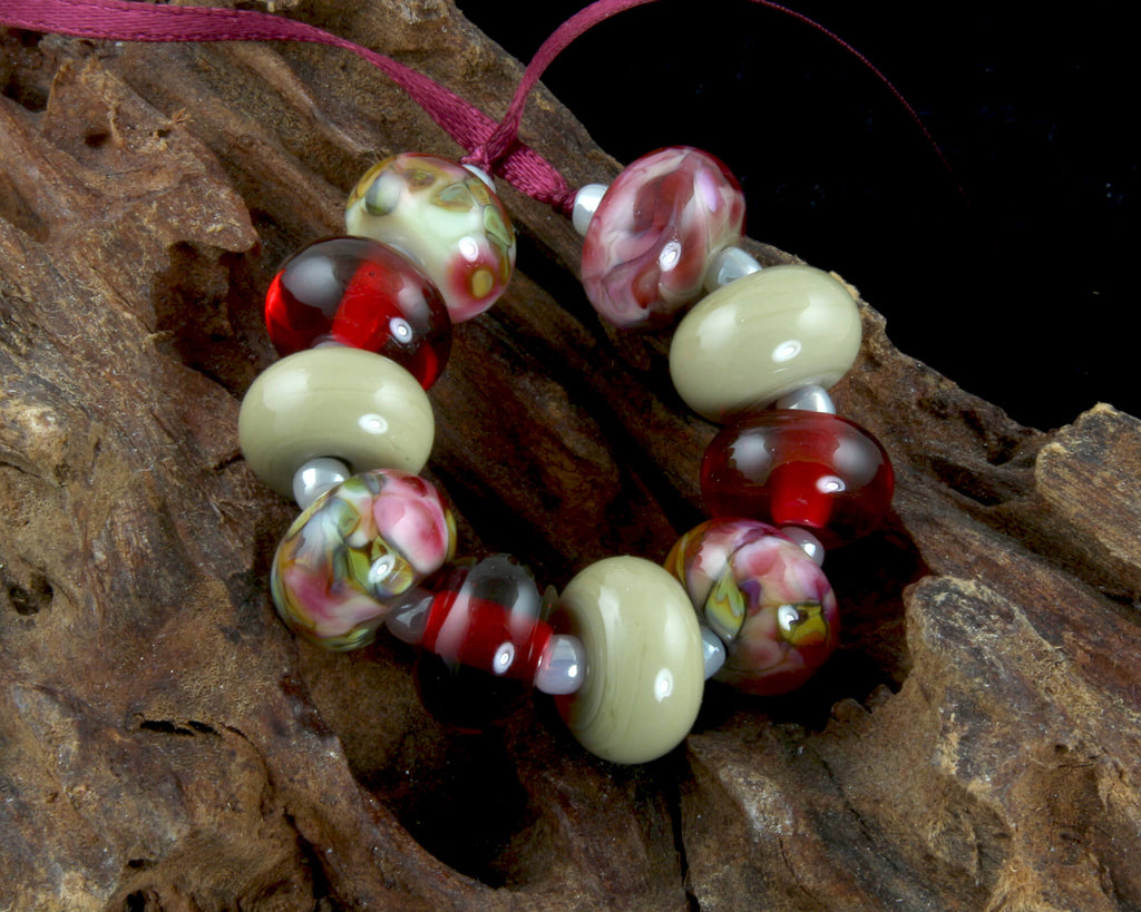Ruby Pink Green Lampwork Beads Set SRA