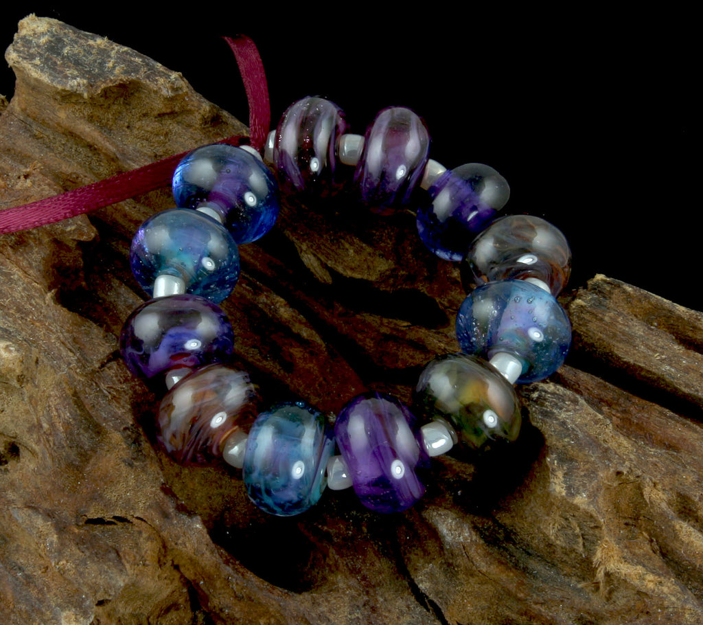 Blue Purple Mix Lampwork Beads Set SRA