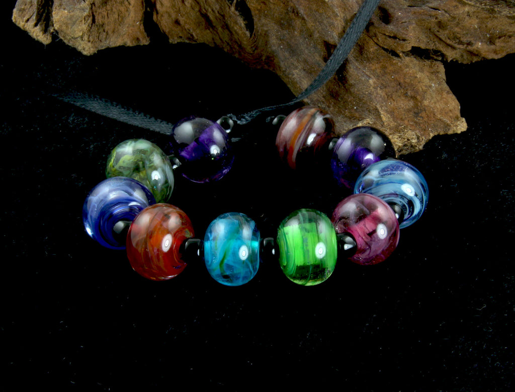 colorful lampwork beads